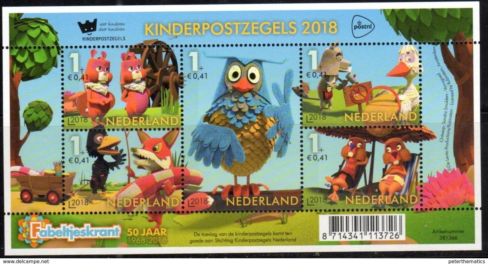 NETHERLANDS, 2018, MNH, CHILDREN'S STAMPS, OWLS, BIRDS, SHEETLET - Other