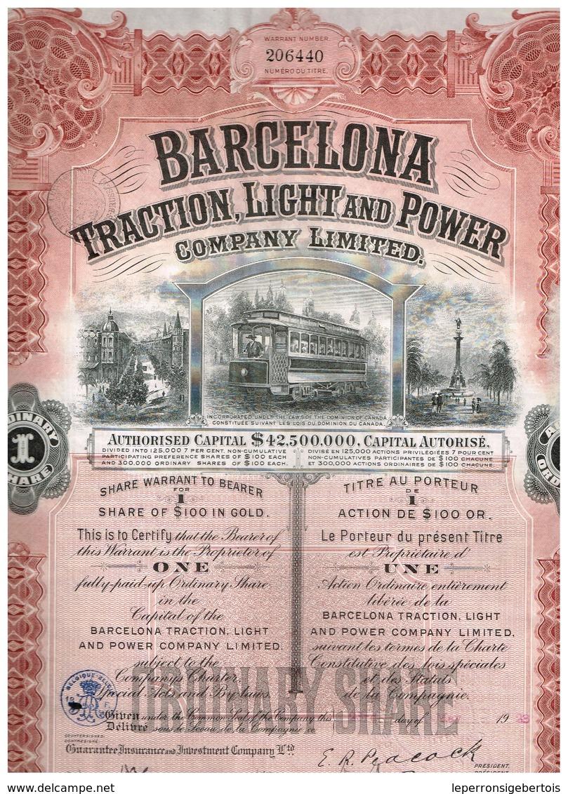 Action Ancienne - Barcelona Traction Light And Power Cy Ltd  - Titre De 1923 N°206440 - Chemin De Fer & Tramway