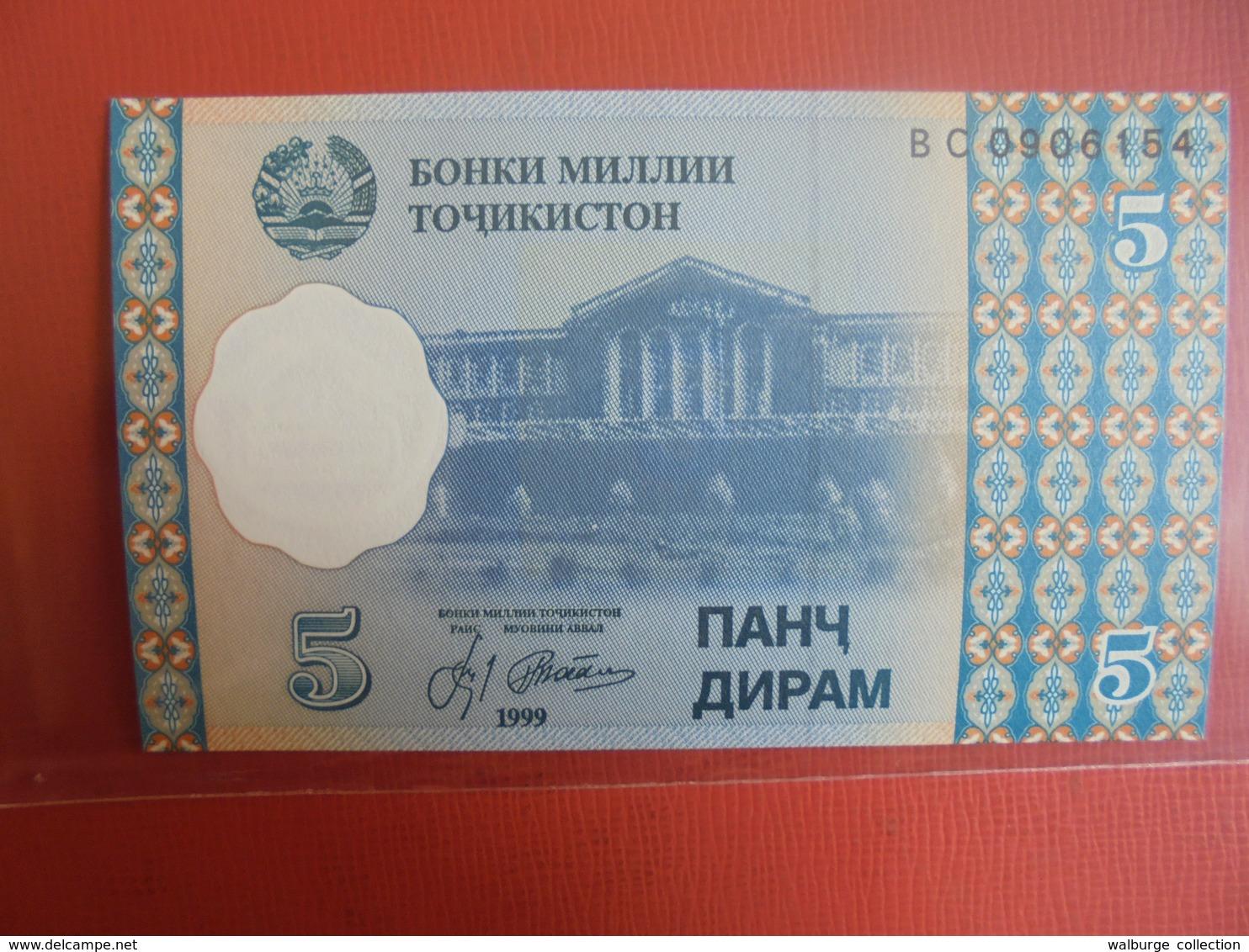 TADJIKISTAN 5 DIRAMS 1999 PEU CIRCULER/NEUF - Tajikistan