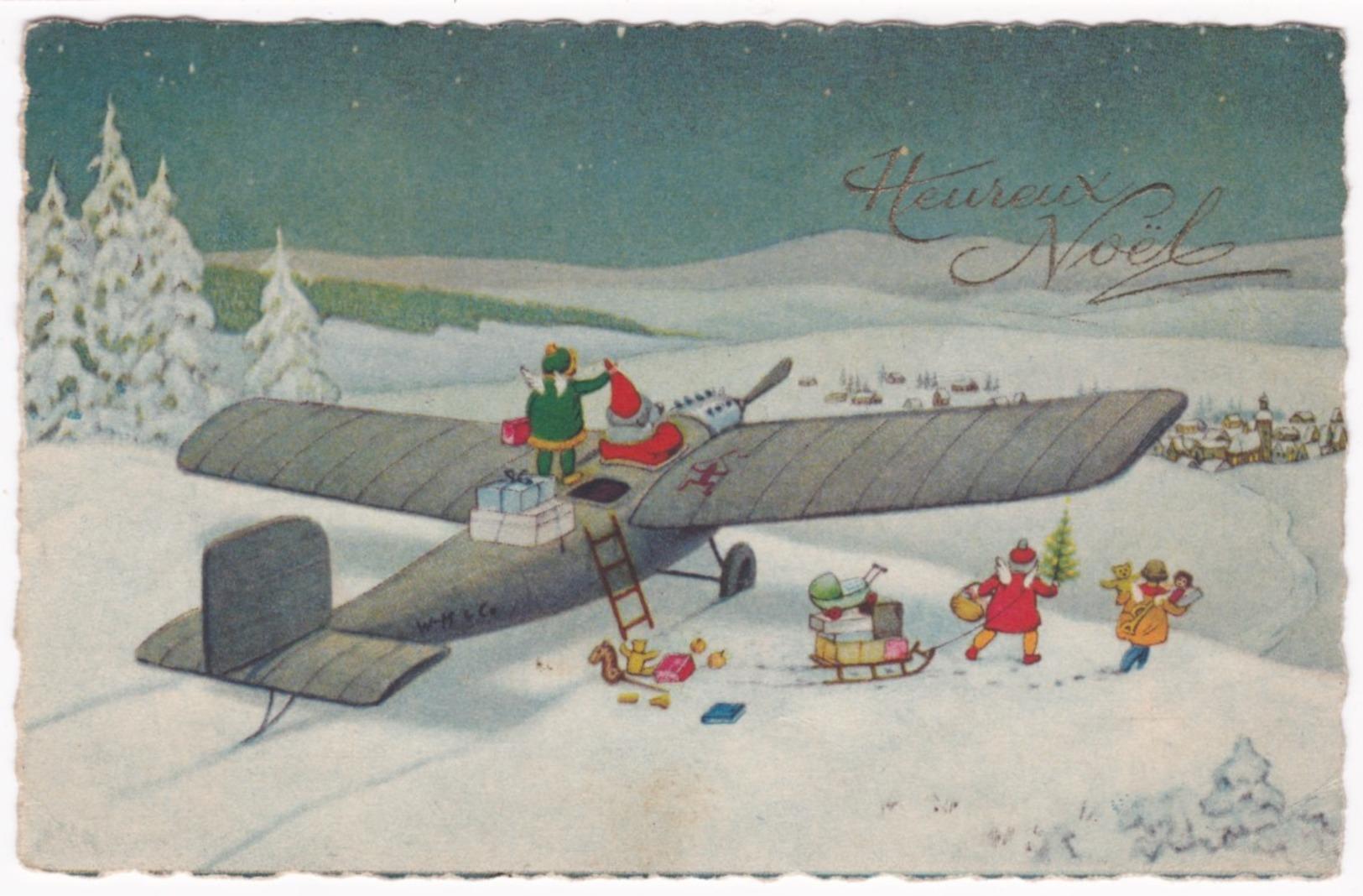 Illustrateur Signé - Heureux Noël - Père Noël En Avion - Autres Illustrateurs
