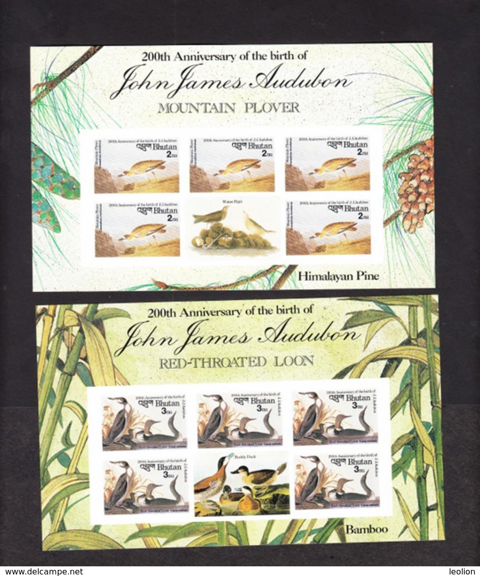 BHUTAN Imperforated Stamps Sheetlets 1985 Audubon Birds Oiseaux Scott 506 - 513, 8 Values MNH IMPERF Bhoutan - Bhutan