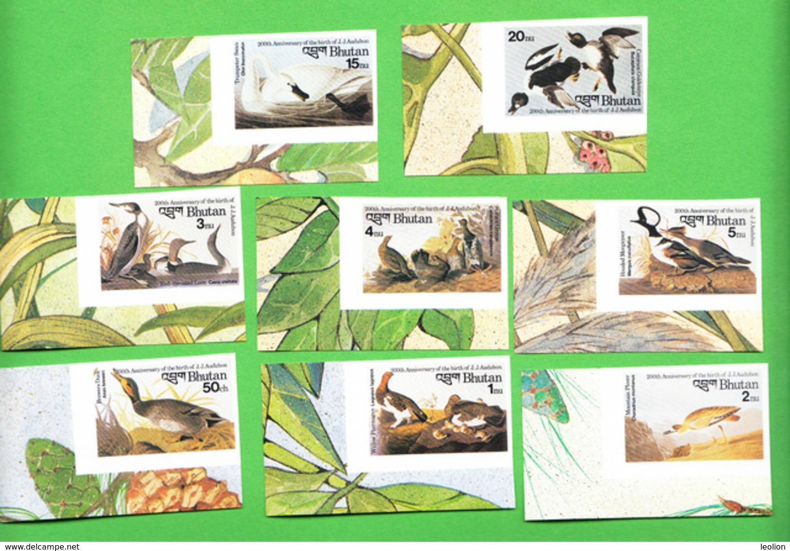 BHUTAN Imperforated Stamps IMPERF 1985 Audubon Birds Oiseaux Scott 506 - 513, 8 Values MNH Bhoutan #2 - Bhutan