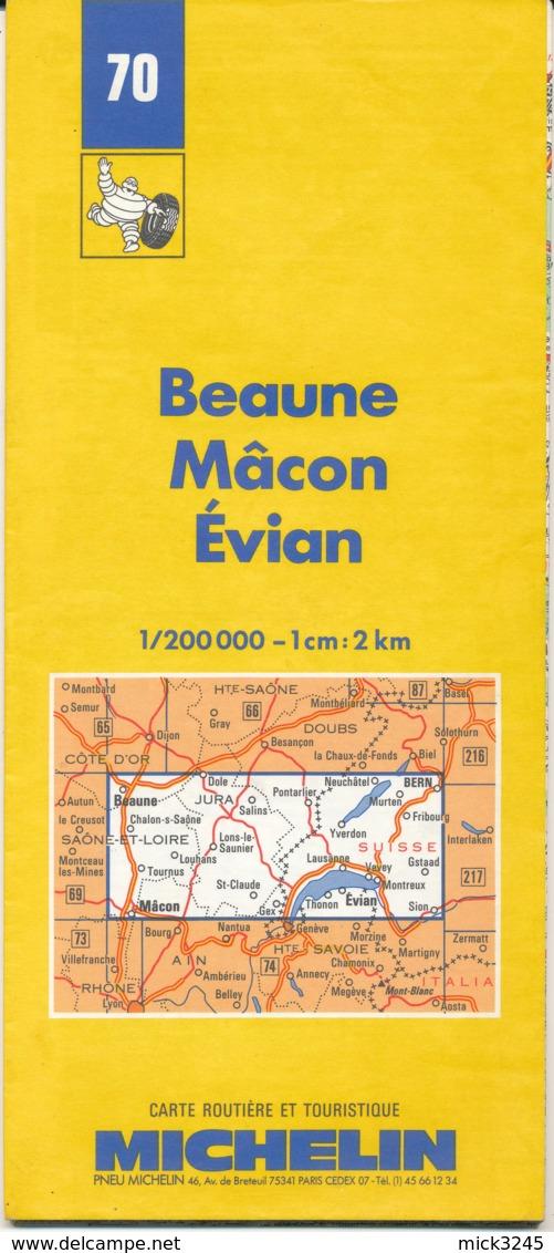 Carte Michelin N°70 Beaune Mâcon Evian 1988 - Cartes Routières