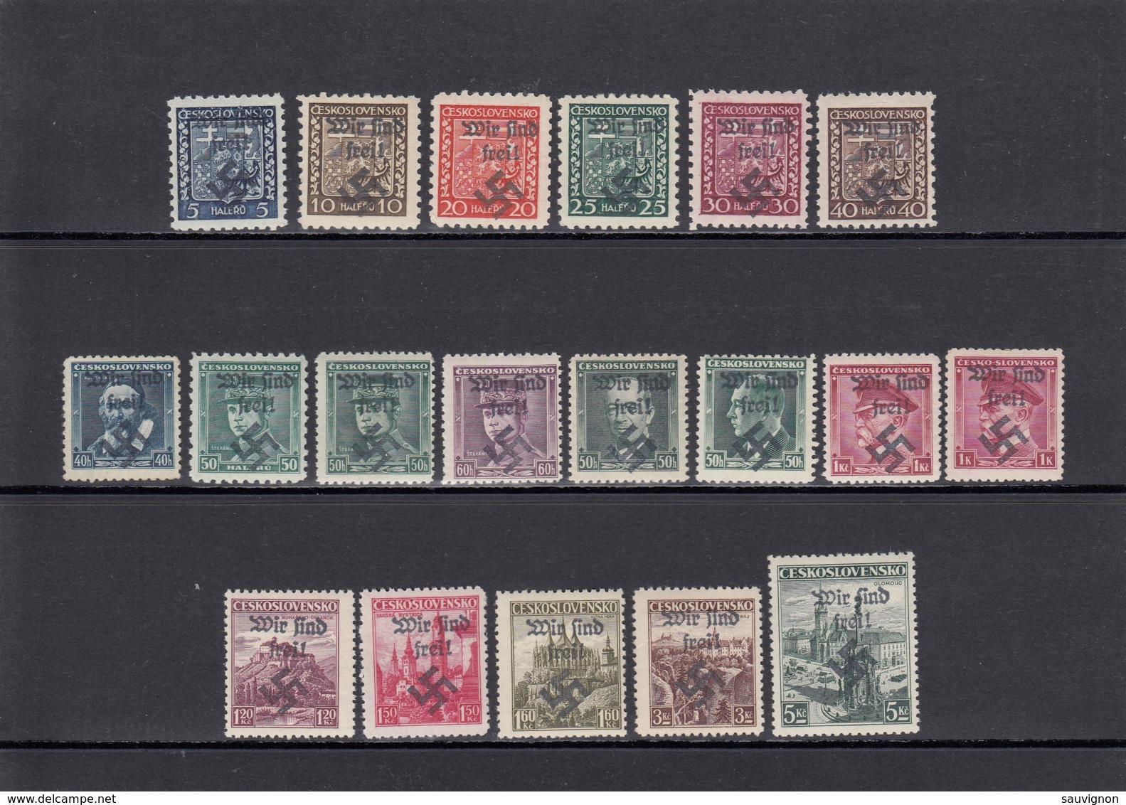 Deutsches Reich. 4 Steckkarten Lokalausgaben Sudetenland-Überdrucke 1938 - Besetzungen 1938-45