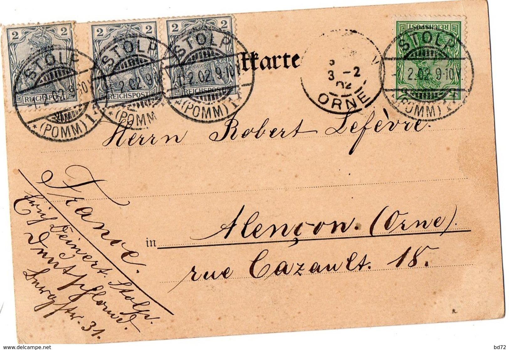 STOLP  ( SLUPSK, Pologne ), écrite En 1902 - Gymnasium - Pologne