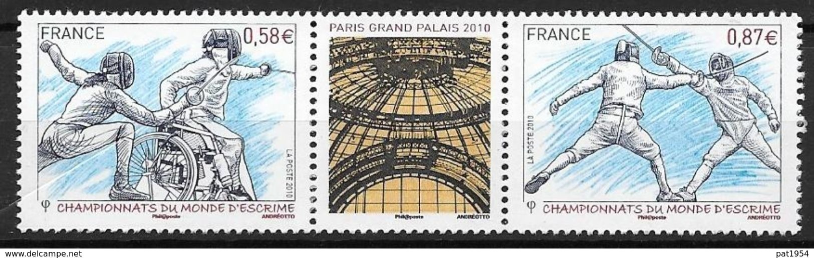 France 2010 N° 4510/4511 Neufs En Paire Championnat D'escrime à La Faciale - Francia