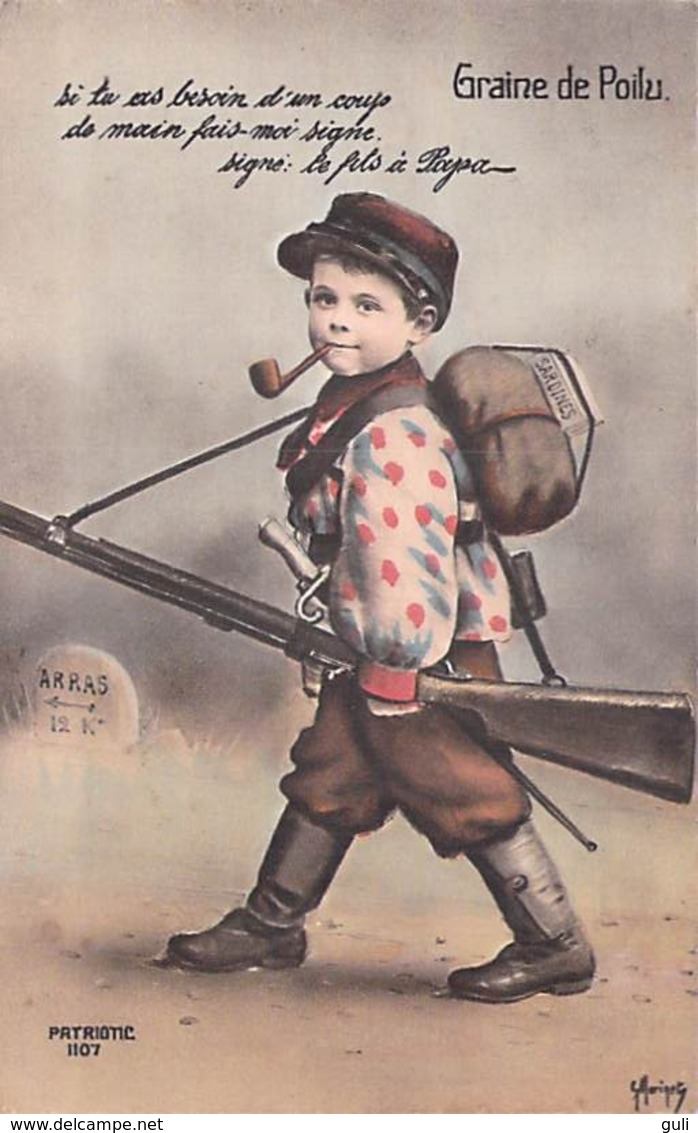 MILITARIA Patriotique -GRAINE DE POILU  (gamin Enfant Campagne 1914 Enfant Soldat Soldats Unforme Fusil) *PRIX FIXE - Patriotiques