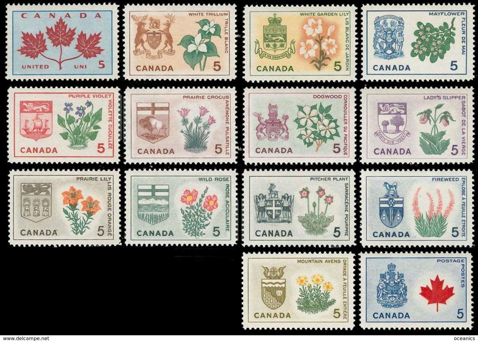 Canada (Scott No. 417-29A - Fleurs Provinciales / Provincial Flowers) [**] Serie / Set Of 14 - 1952-.... Règne D'Elizabeth II