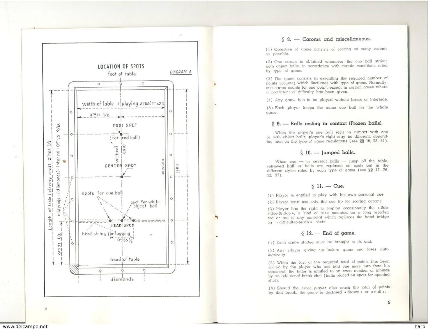 Livret - Règlement Pour Le Billard Français Ou Carambole - Rule Book For French Or Carom Billiards (jm) - Billiards