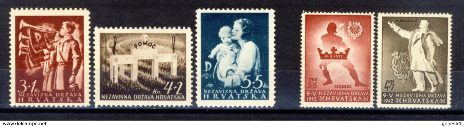 1942 - Croazia Indipendente - Soccorso Nazionale E Pro Gioventù Ustascia - Nuovi MLH* - Kroatien