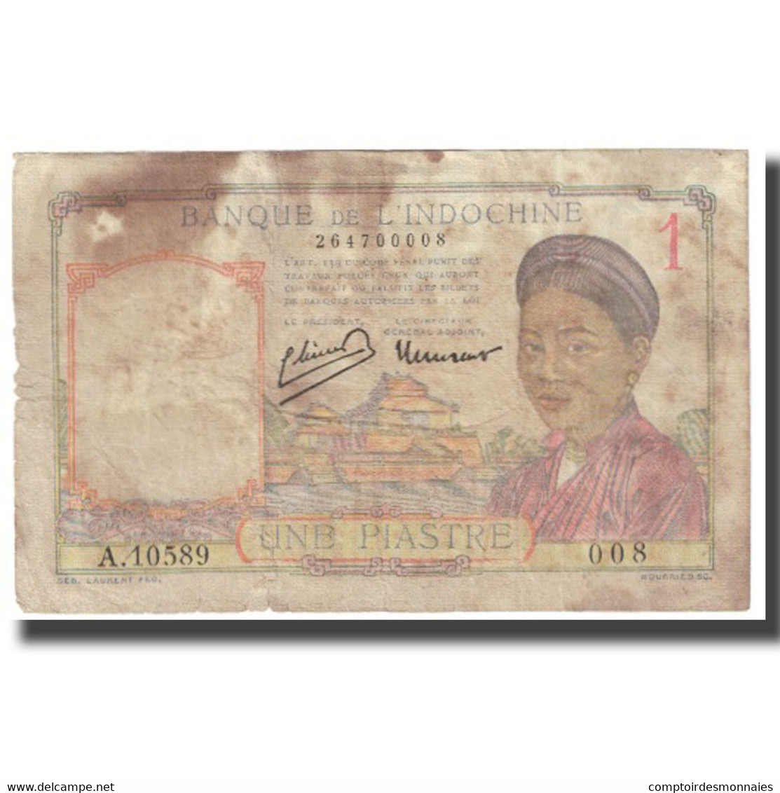 Billet, FRENCH INDO-CHINA, 1 Piastre, KM:52, B - Indochine