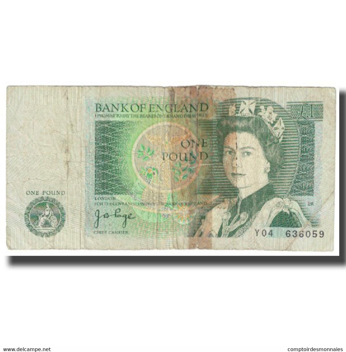 Billet, Grande-Bretagne, 1 Pound, KM:377a, B - 1952-… : Elizabeth II