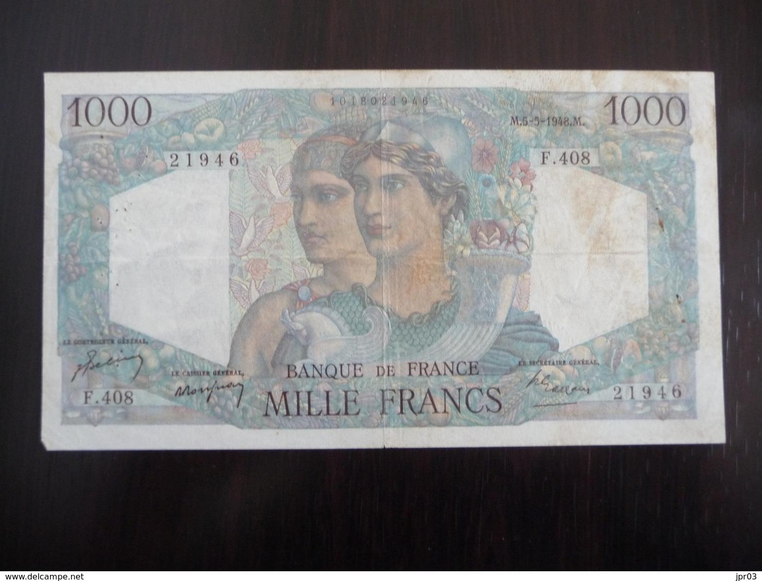 FRANCE *   MINERVE ET HERCULE -  1000  Francs   M 5.5.1948 - 1 000 F 1945-1950 ''Minerve Et Hercule''