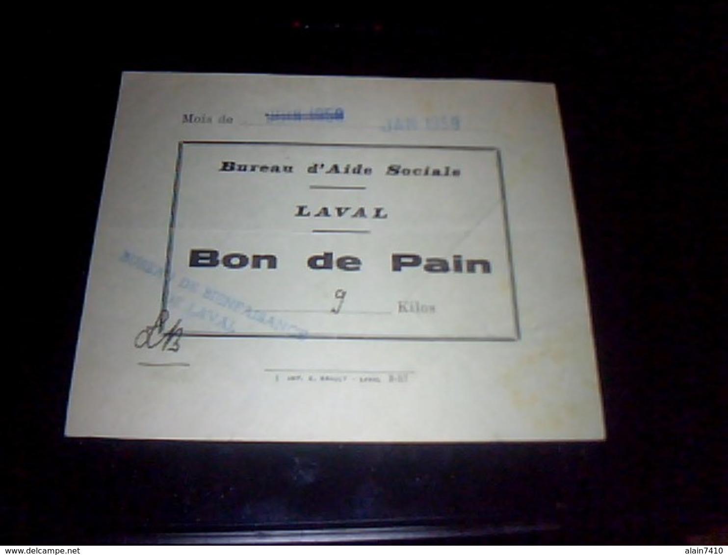 Vieux Papier Ticket De Rationement  Bon De Pain Distribuè Par L Action Sociale De Laval 1959 - Autres Collections