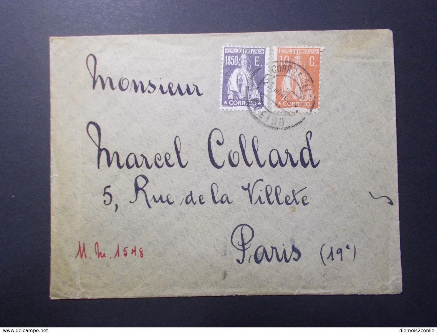 Marcophilie  Cachet Lettre Obliteration - PORTUGAL à Destination De PARIS (2414) - 1910-... République