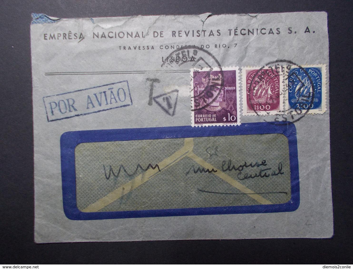 Marcophilie  Cachet Lettre Obliteration - PORTUGAL Taxe 20 Francs Au Dos - 1949 (2415) - 1910-... République