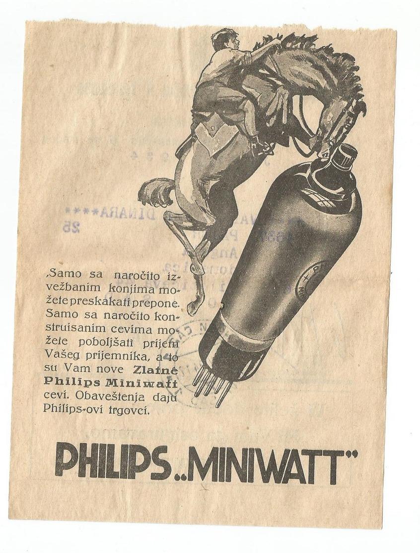 Kingdom Of Yugoslavia 1934 PTT Post Telegraph & Telephone Directions Receipt PHILIPS Miniwatt Radio Tubes - Brieven En Documenten