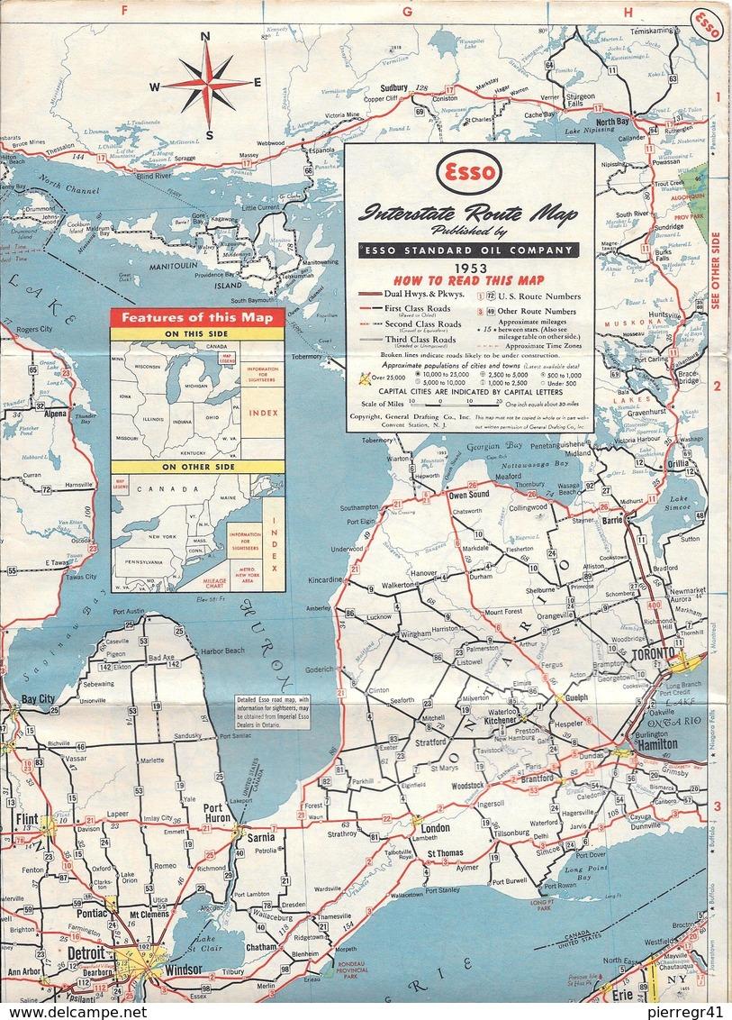 -CARTE ROUTIERE-1953-ESSO-USA NORD Et CANADA -2 Coté ROUTES-BE-RARE-Pas De PLIS Coupés - Cartes Routières