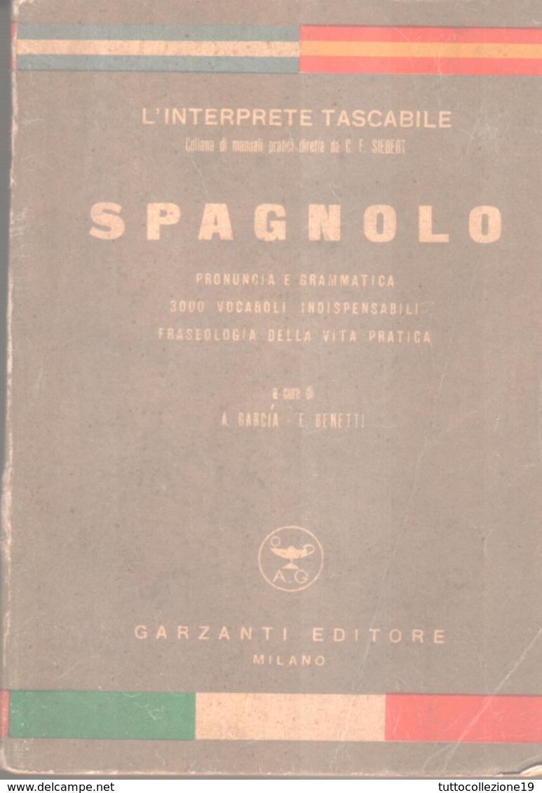 """VENDO """"L'INTERPRETE TASCABILE"""" DI SPAGNOLO DEL 1951- GARZANTI EDITORE - - Dizionari"""