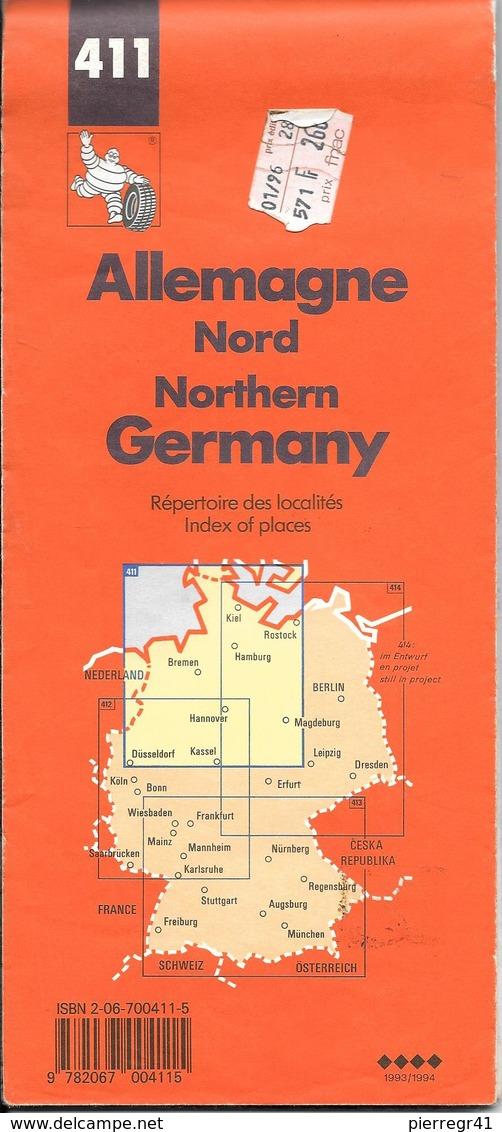 CARTE-ROUTIERE-MICHELIN-N °411-1993/1994-3e Edit-ALLEMAGNE-NORD-TBE-COMME NEUF - Cartes Routières