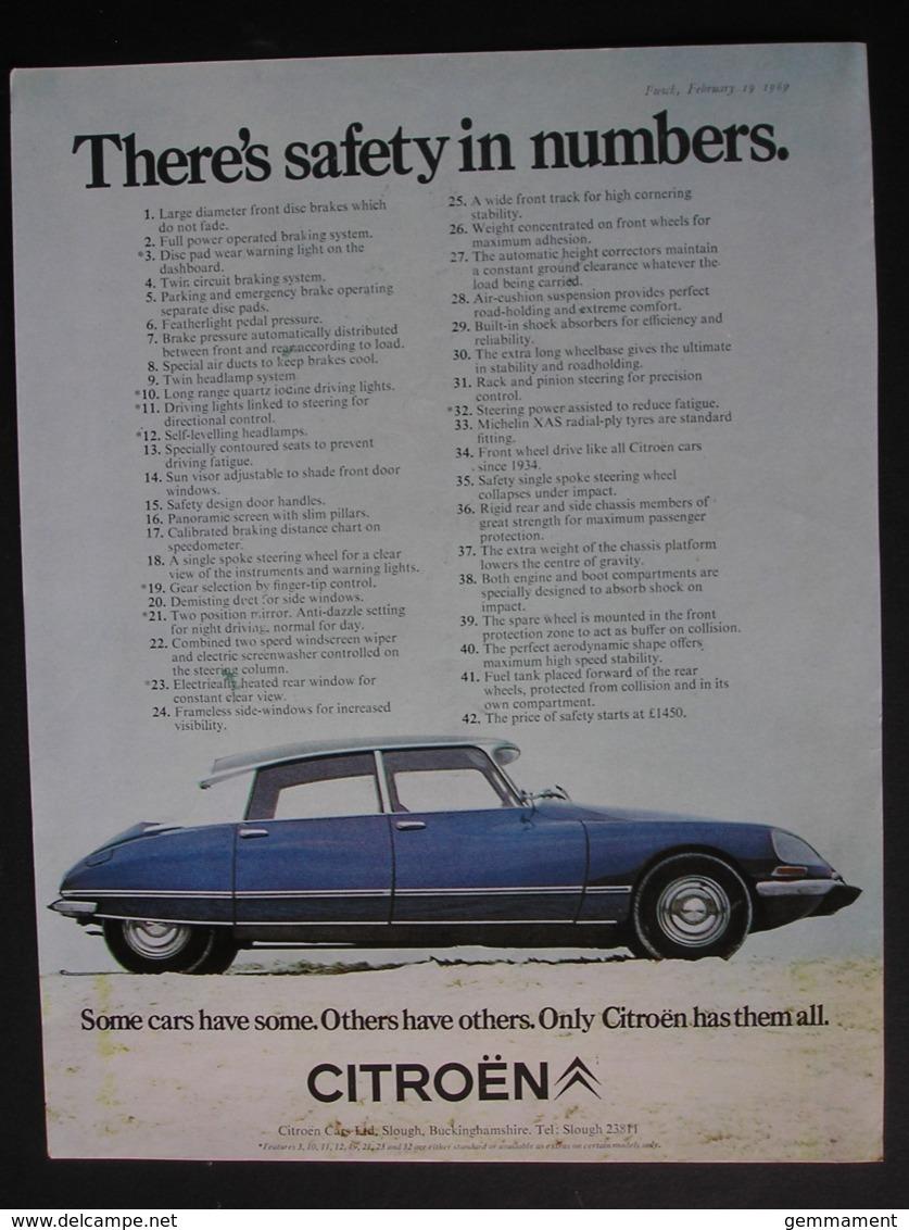 CITROEN MOTOR CAR  ORIGINAL  1969 MAGAZINE ADVERT - Advertising