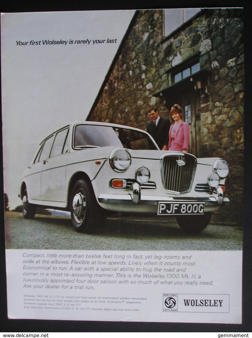 WOLSELEUY 1300 MK 11 MOTOR CAR  ORIGINAL  1969 MAGAZINE ADVERT - Advertising