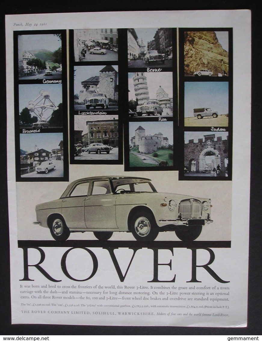 ROVER 3 LITRE MOTOR CAR  ORIGINAL  1961 MAGAZINE ADVERT - Advertising