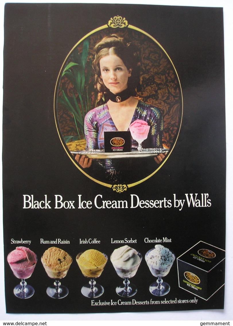 WALLS BLACK BOX ICE CREAM DESSERTS  ORIGINAL  1972 MAGAZINE ADVERT - Other