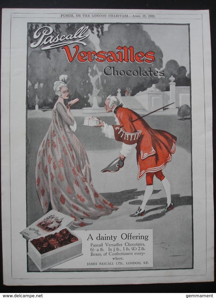 PASCALL VERSAILLES CHOCOLATES.   ORIGINAL 1921  MAGAZINE ADVERT - Advertising