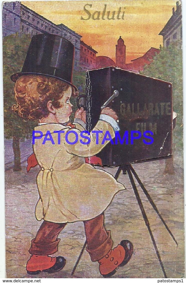 111615 ITALY GALLARATE VARESE ART BOY WITH OLD PHOTO CAMERA MULTI VIEW 10 TEN MINI PHOTO POSTAL POSTCARD - Italy