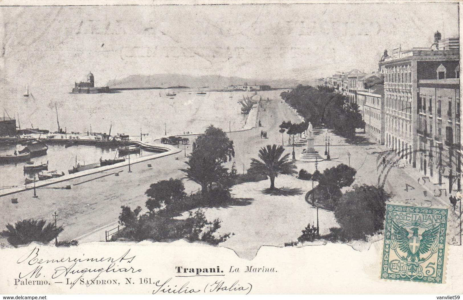 TRAPANI-LA MARINA-CARTOLINA VIAGGIATA IL 15-5-1902 - Trapani