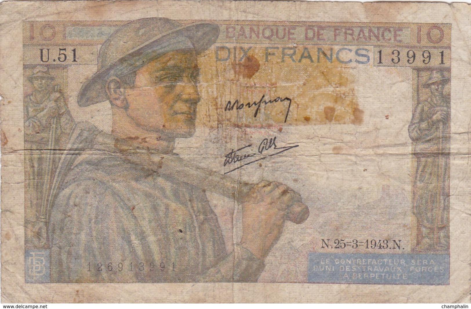 France - Billet De 10 Francs Type Mineur - 25 Mars 1943 - 10 F 1941-1949 ''Mineur''