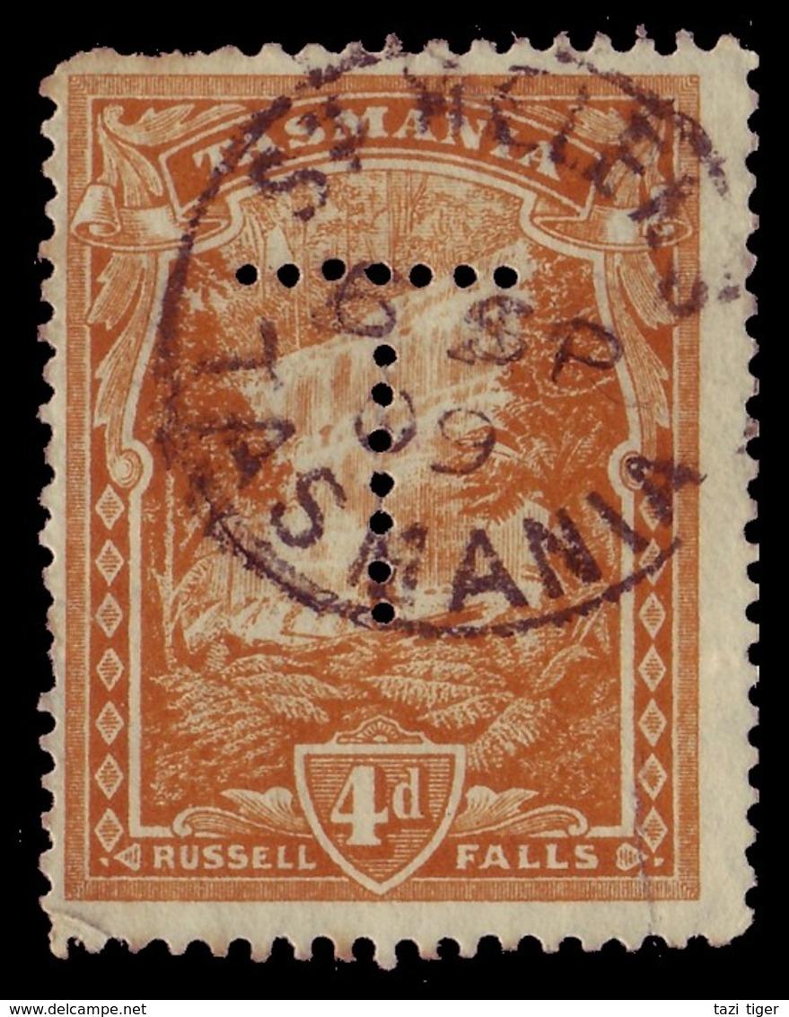 "TASMANIA • 1909 CDS Postmark On 4d Pictorial, Perf ""T"" • ST HELENS - Oblitérés"