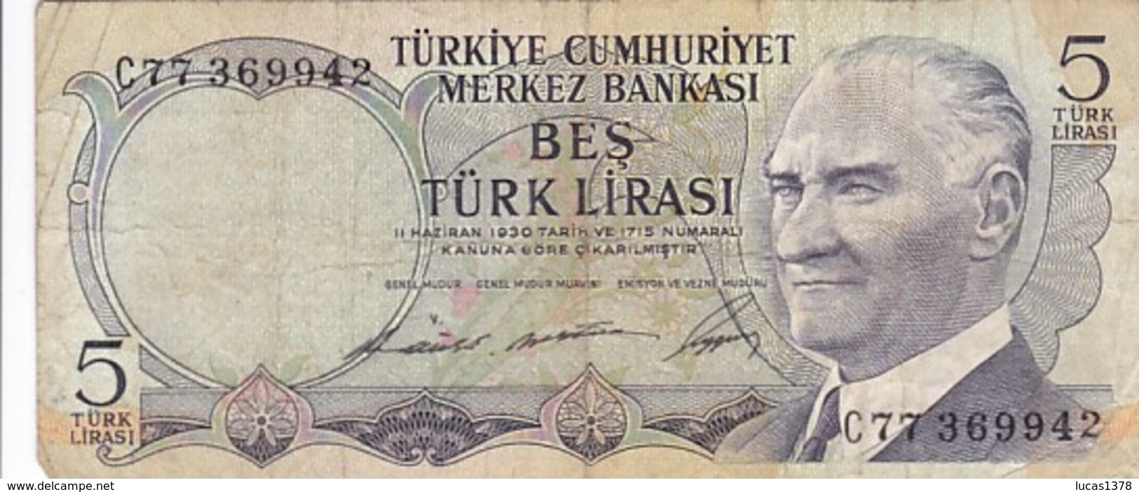 TURQUIE 5 Lirasi / Livres  , Loi De 1930 - Turquie