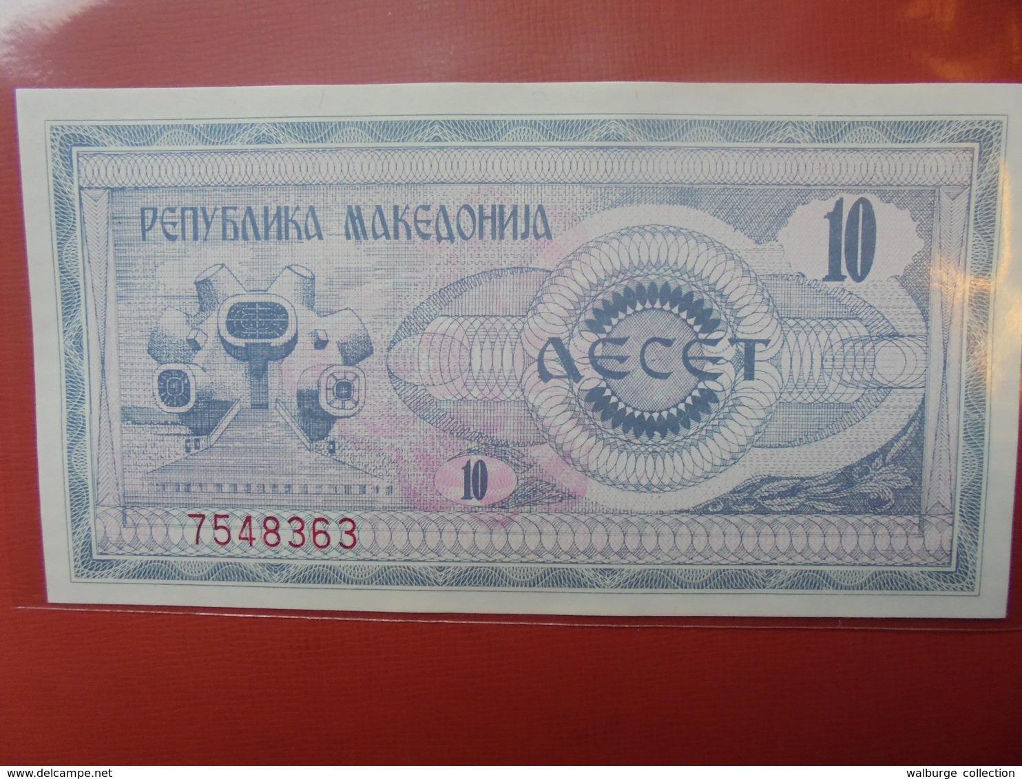 MACEDONIE 10 DINAR 1992 PEU CIRCULER/NEUF - Macedonia