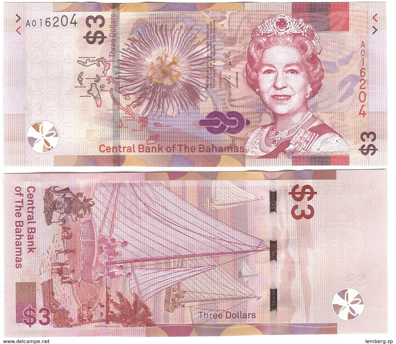 Bahamas - 10 Pcs X 3 Dollars 2019 UNC Lemberg-Zp - Bahamas