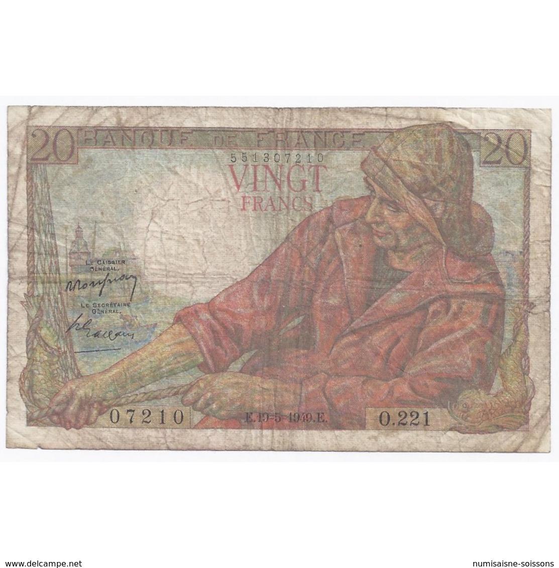 FAY 13/15 - 20 FRANCS PECHEUR - 19/05/1949 - TRES BEAU - PICK 100 - - 1871-1952 Anciens Francs Circulés Au XXème