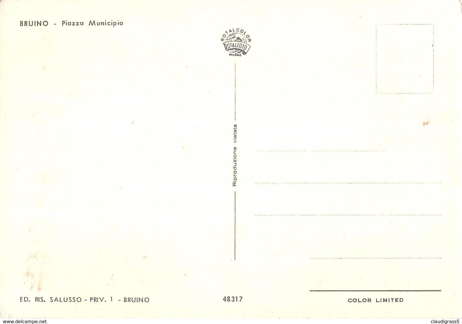 """0495 """"BRUINO (TO) - PIAZZA MUNICIPIO"""" PULMINO VW, AUTO ANNI '50/60. CART. ORIG. NON SPED. - Italia"""