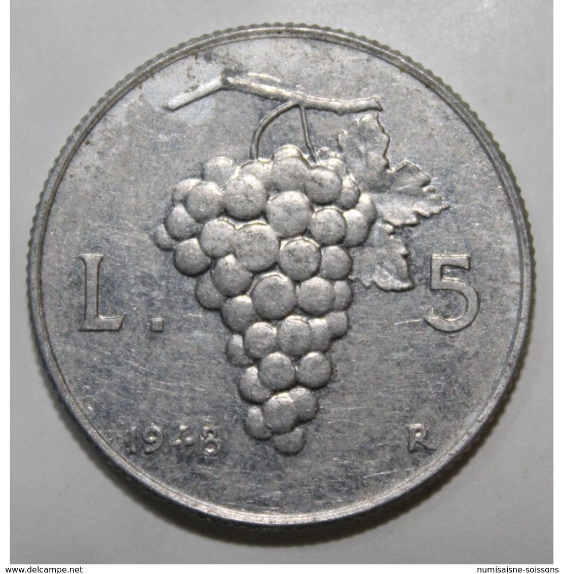 ITALIE - KM 89 - 5 LIRE - 1948 - PIECE COURANTE - TTB - 1946-… : République
