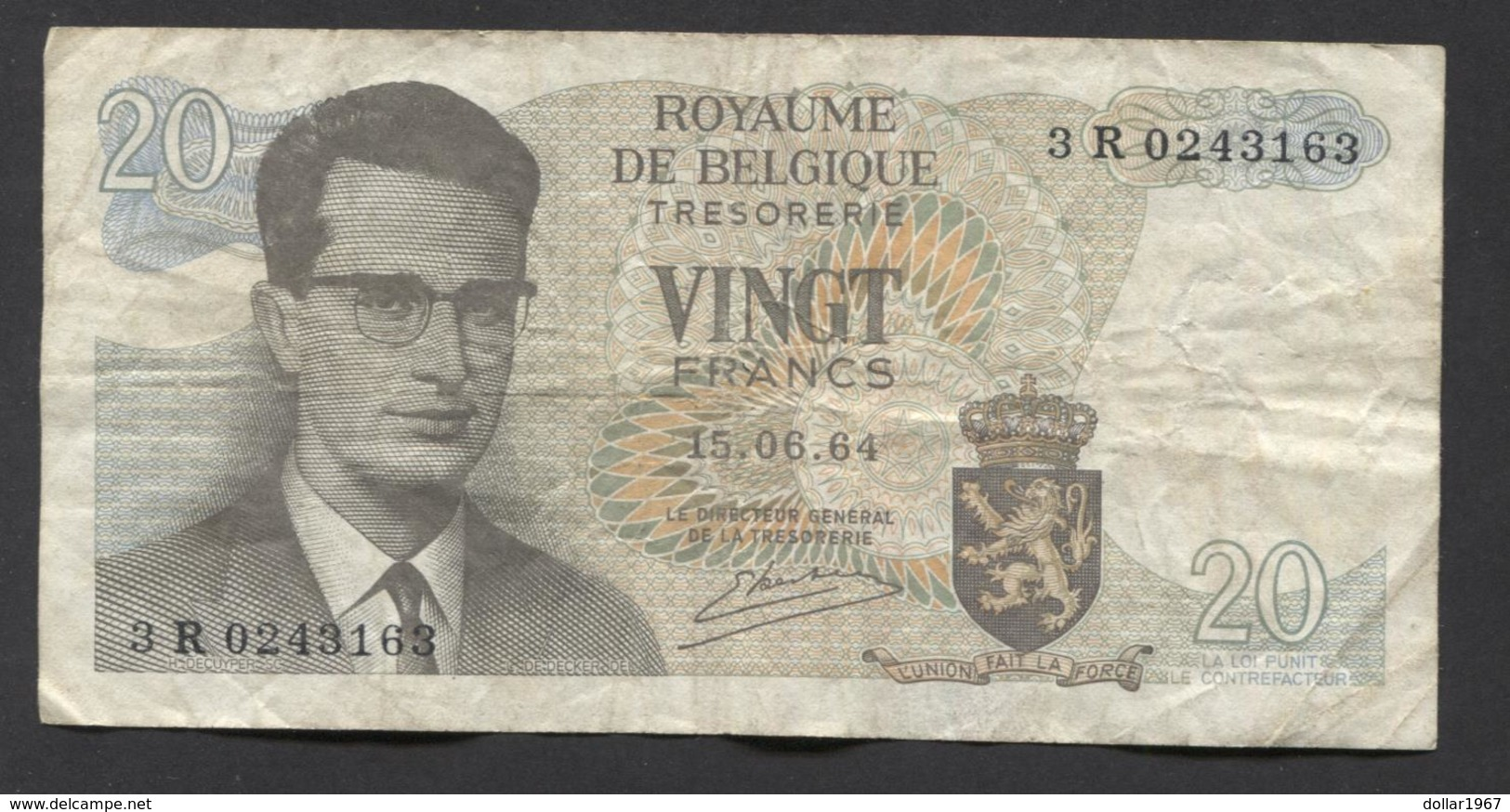België Belgique Belgium 15 06 1964 -  20 Francs Atomium Baudouin. 3 R 0243163 - 20 Francs