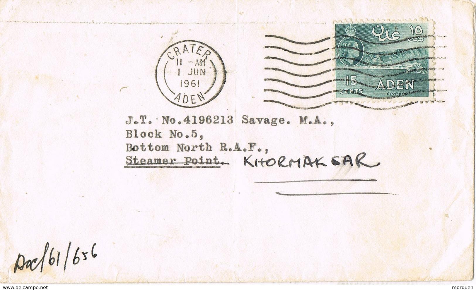 32604. Carta CRATER (Aden) 1961. Reexpedité, Reexpedida - Aden (1854-1963)