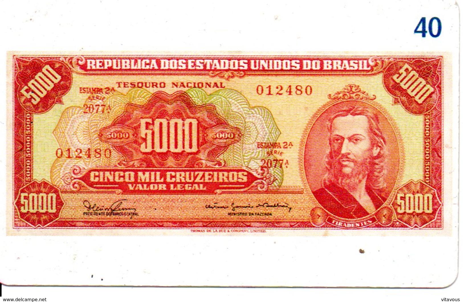 Télécarte Brésil   - Billet Monnaie Money Pièce Numismatique Bank Banque  Phonecard  (G 717) - Timbres & Monnaies