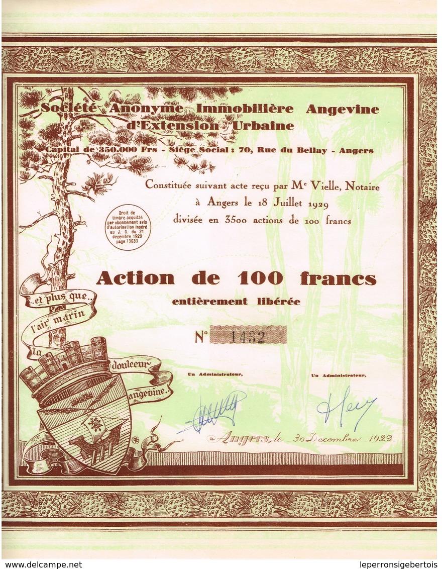 Action Ancienne - Société Anonyme Immobilière Angevine D' Extension Urbaine - Déco -Titre De 1929 - Actions & Titres