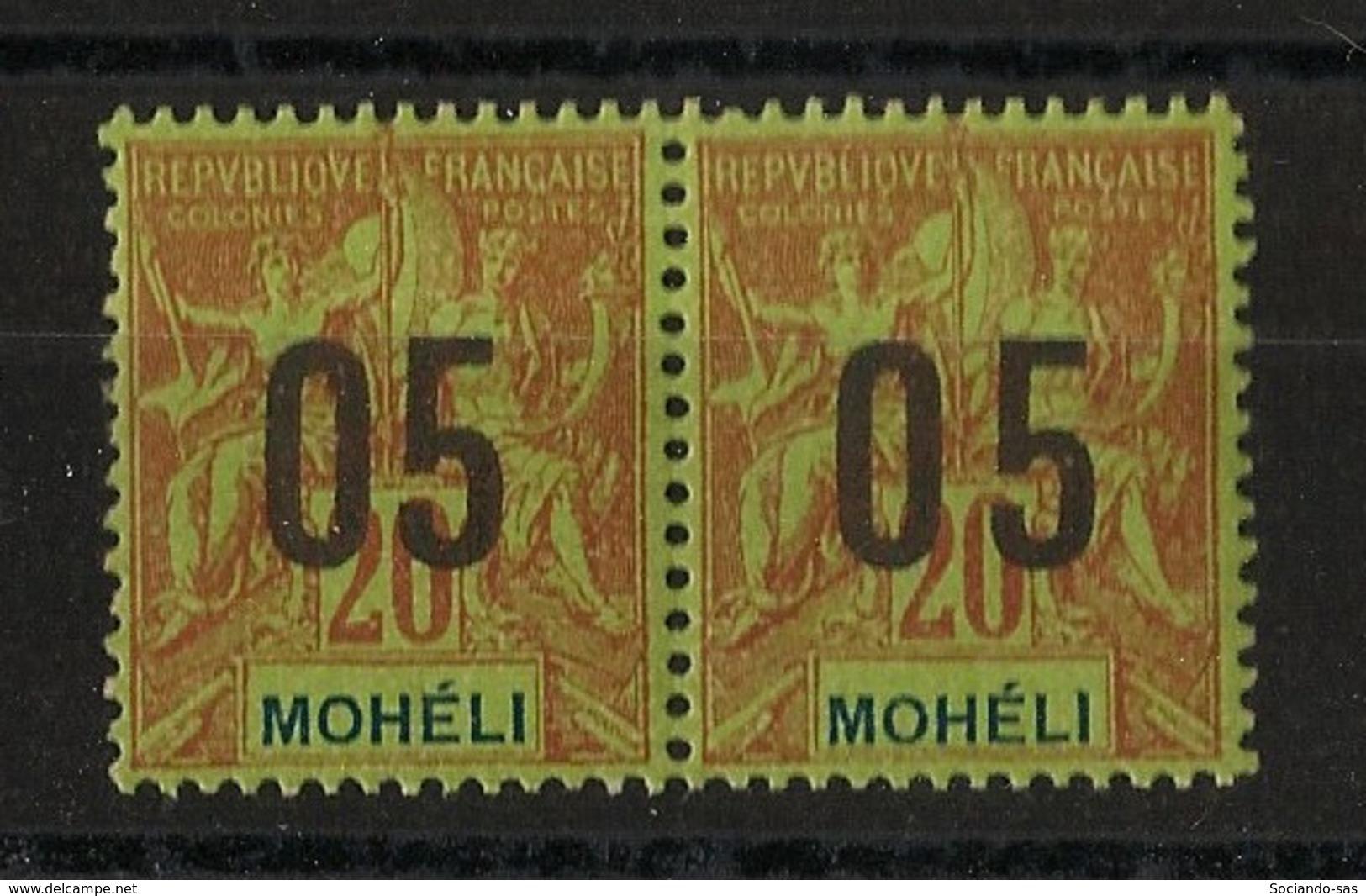 Moheli - 1912 - N°Yv. 18 - 05 Sur 20c - Variété Chiffres Espacés ** Tenant à Normal * - Neuf Luxe ** / MNH / Postfrisch - Mohéli (1906-1912)