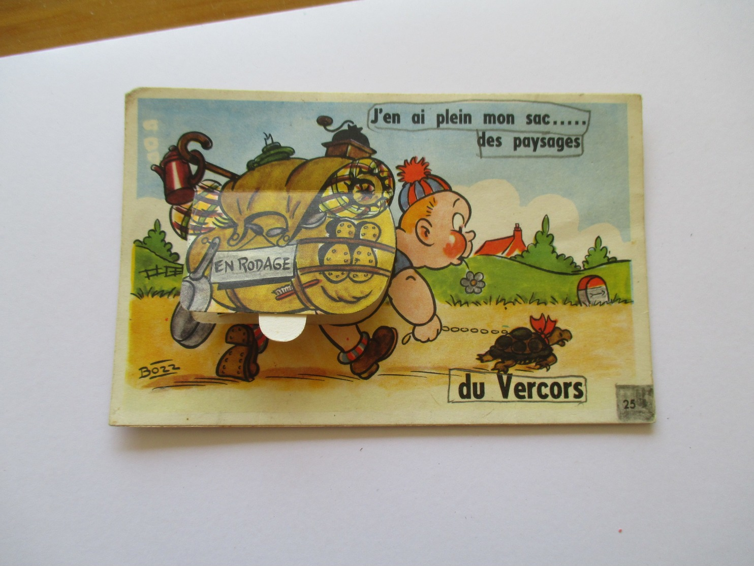 """Illustration  Bozz  Carte à Système"""" J'en Ai Plein Mon Sac Du Vercors """"  """" En Rodage """"tortue 1950 - A Systèmes"""