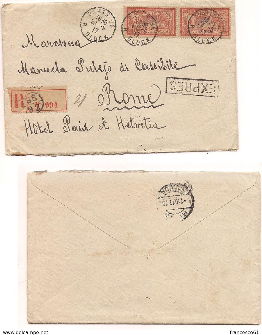 2944) FRANCIA 1917  Registered Expres COVER 40cx2 To Italy Paris - Storia Postale