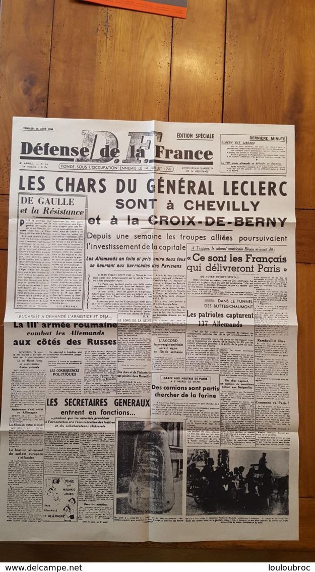 DEFENSE DE LA FRANCE  FONDE SOUS OCCUPATION ENNEMIE 14 JUIILLET 1941 LES CHARS DU GENERAL LECLERC SONT A CHEVILLY - 1939-45