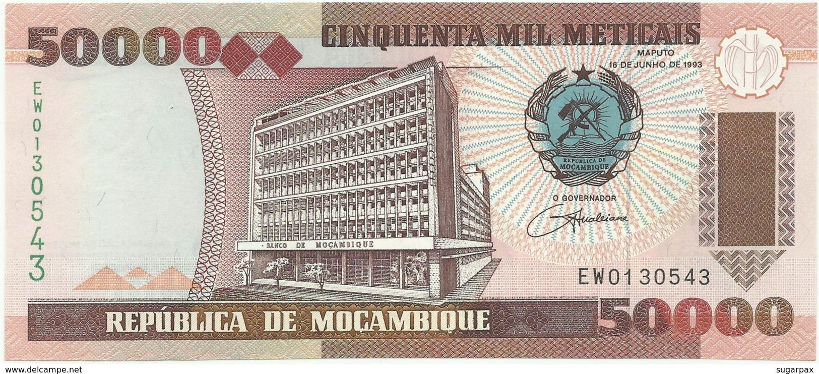 REPLACEMENT Banknote - Mozambique - 50 000 Meticais - 16.06.1993 - P 138 - Serie EW - Unc. - 50000 - Substituição - Mozambique