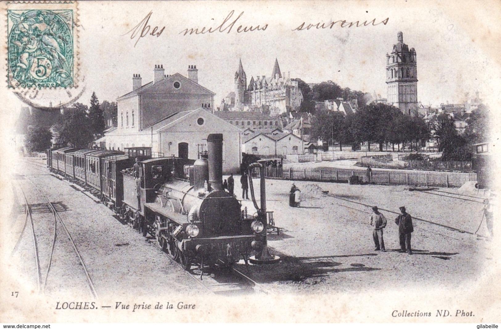 37 - Indre Et Loire - LOCHES - Vue Prise De La Gare - Train Vapeur En Gare - Loches