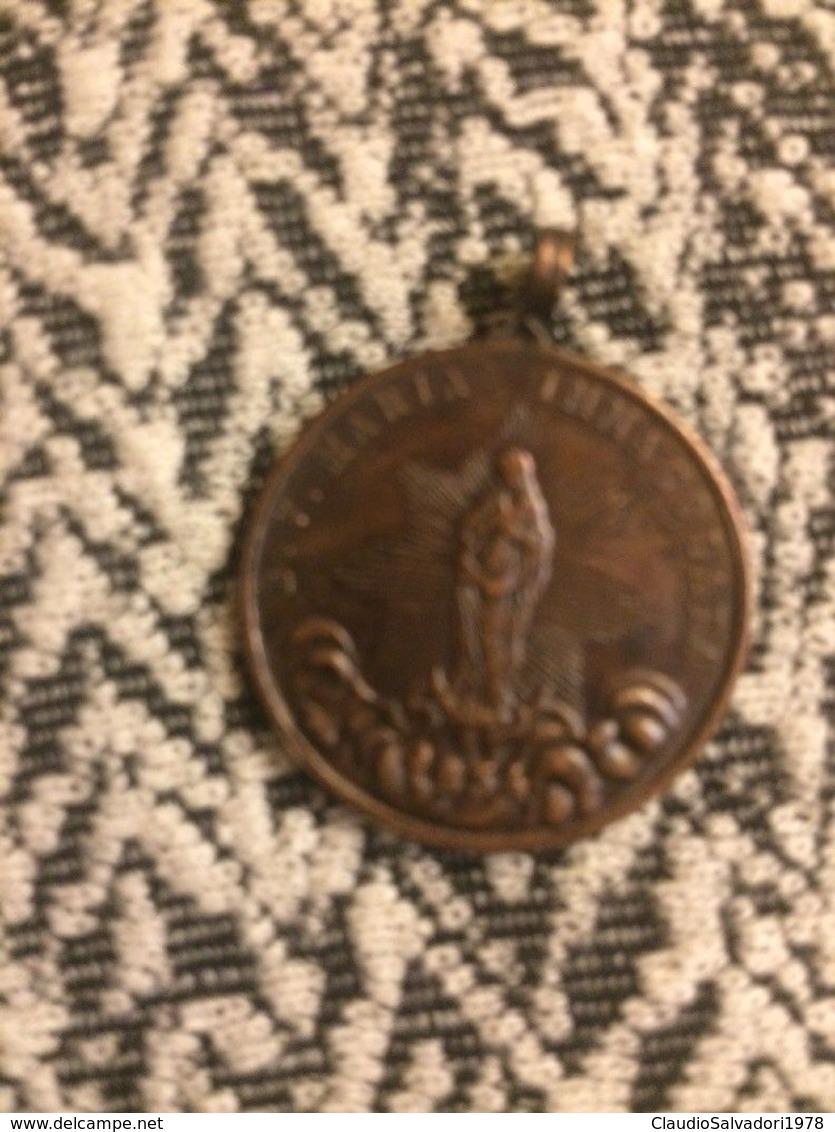 Antica Medaglia In Bronzo Leone Xiii Maria Immacolata Fine 800 - Bronzes